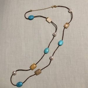 Lia Sophia turquoise and brown stone necklace